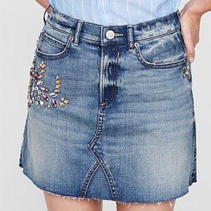Express Embellished High Waist Denim Skirt Size 0
